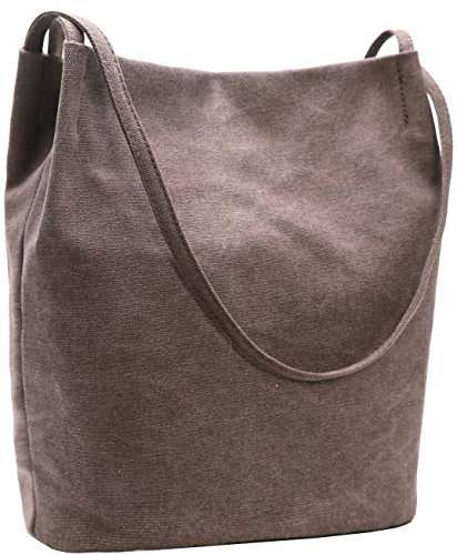 Canvas Bucket Bag - Bucket Bag Iswee Canvas Handbags Shoulder Bag Hobo Casual Tote for Women (Coffee)