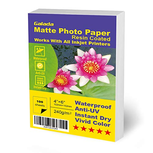 Waterproof Matte Paper - Galada Photo Paper 100 Sheets 4x6 Photo Paper High Glossy Vivid Color Waterproof Photographic Paper Works with All Inkjet Printers (4x6 Matte Paper 100sheets)