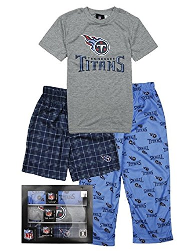 NFL Big Boys Tennessee Titans Three Piece Sleep Set - Blue / Navy / Gray (Large (14/16))