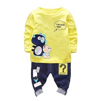 ac888c8d11daf Amazon.com: Baby Boy Girl Outfits Set, 2pcs Dinosaur Long Sleeves T ...