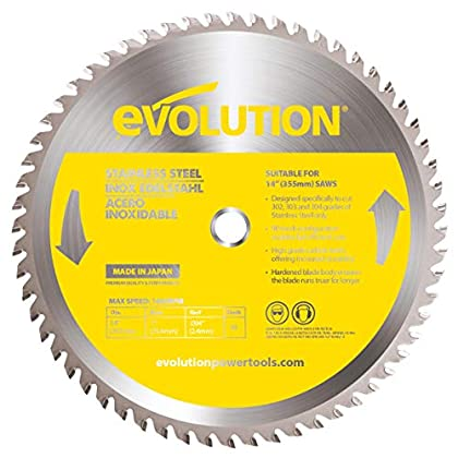 Image of Evolution Power Tools 14BLADESS Stainless Steel Cutting Saw Blade, 14-Inch x 90-Tooth Home Improvements