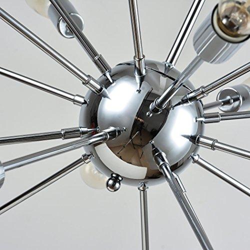 Vintage Metal Large Dimmable Sputnik Chandelier with 18 Lights Chromed Finish