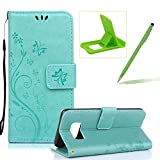 Wallet Leather Case for Galaxy J3 2017,Book Style Pu Leather Case for Galaxy J3 2017,Herzzer Retro Butterfly Flower Pattern Flip Fold Pouch Case with Card Holders Stand Magnetic Case