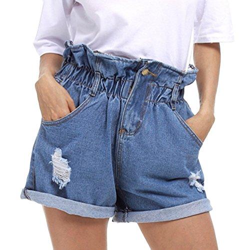 Strappati Casual Alta Pantaloni Vita Dexinx Strappati Azzurro Estivi Jeans Elasticizzati Donna Pantaloni di da Pantaloncini a Caldi wqqHTn46xv