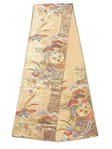 冬時制厳しいリサイクル 袋帯 竹籠に四季花と鳳凰 正絹 六通柄