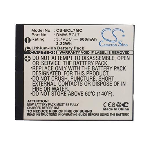 Price comparison product image Camera Battery,  600mAh / 2.22Wh 3.7V Camera Battery For Panasonic DMW-BCL7 DMW-BCL7E Lumix DMC-F5 Lumix DMC-F5K Lumix DMC-F5P , Backup Camera Cells ( Color : Black ,  Size : 40.98 x 34.25 x 4.95mm )