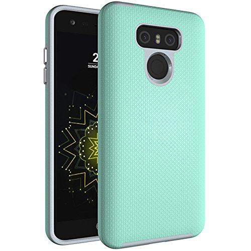 LG G6 Case, Dretal [Shock Absorption] Ultra-thin Anti-slip Armor Silicone Rubber Heavy Duty Hybrid Protective Cover For LG G6 (Mint)