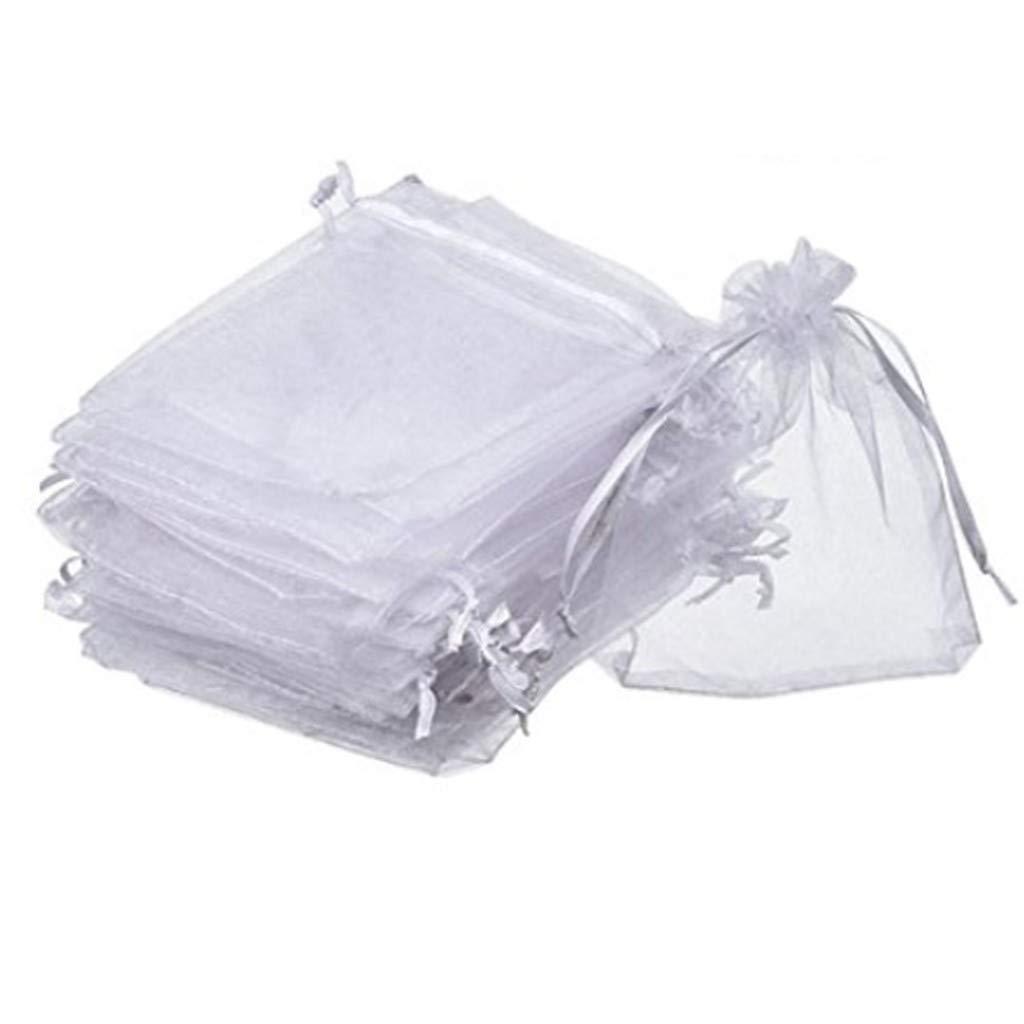 Lvcky Pochettes en Organza Blanc à Dragées pour Fête de Mariage Sacs Bijoux Pochettes Wrap (Lot DE 50, 10,2x 12cm) pour Offrir, Bijoux, Pochette, Dragées, d'articles de Conditionnement 471934