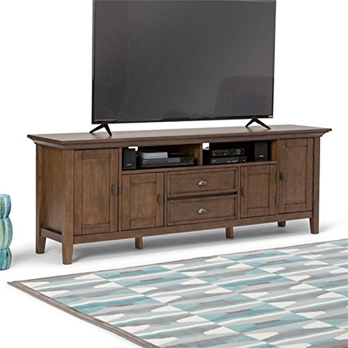 Simpli Home Redmond Solid Wood 72'' TV Media Stand, Rustic Natural Aged Brown