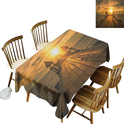 Pastel Classics Emerald Bay - Elastic Edges fit The Rectangular Tablecloth Suitable for Most Home Decor Wooden Dock Serene Bangkok Bay Morning Sunshine and Ocean Picture Print W70 x L120 Inch Brown Yellow Dark Blue