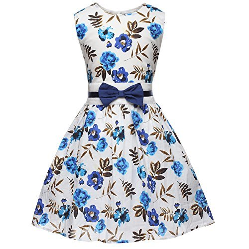 Fedpop Little Girls Toddler Spring Flower Dress Printed Floral Easter Sundress For 2-7T