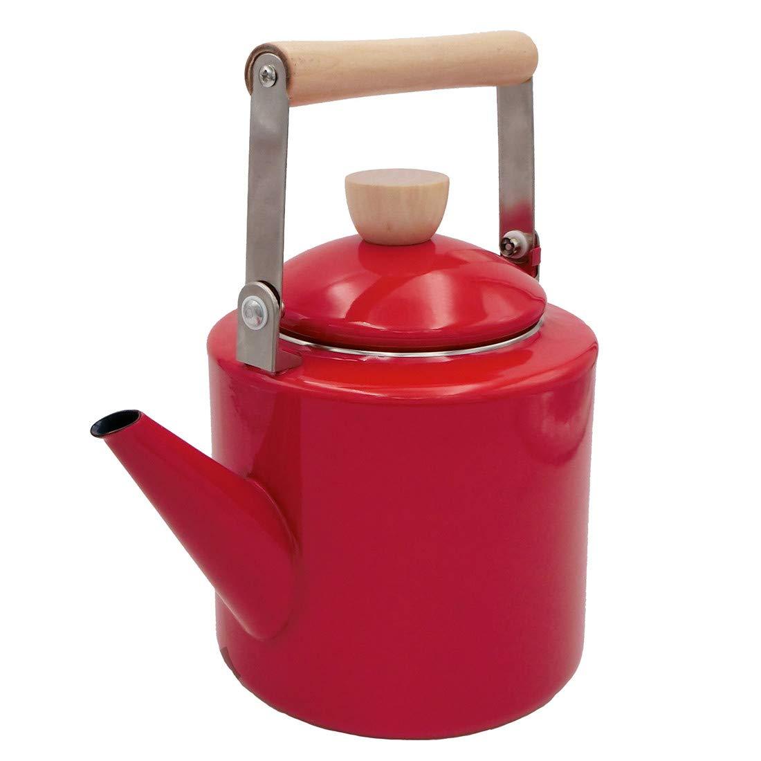 Keypro Enamel on Steel Tea Kettle, 2.1-Quart Maximum Capacity, Cylindrical Shape with Wood Handle, Vintage Style(Red)