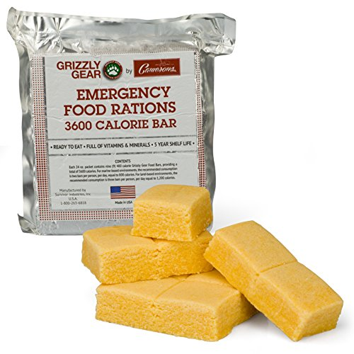 Grizzly Gear Emergency Food Rations - 3600 Calorie Bar - 3 Day Supply - Less Sugar and More Nutrients Than Other Leading Brands - (5 Year Shelf Life)-9 Bars ()