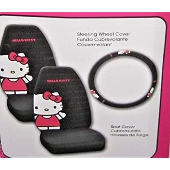 Hello Kitty Car Seat Covers And Steering Wheel Cover Set Black Red Whte