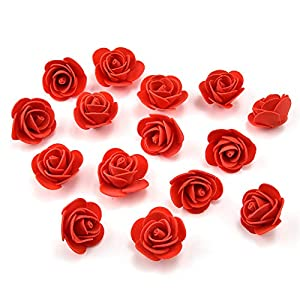 Fake Flower Heads in Bulk Wholesale for Crafts Mini PE Foam Rose Flower Head Artificial Rose Flowers Handmade DIY Wedding Birthday Home Decoration Festive & Party Supplies Decor 50pcs/lot (red) 27
