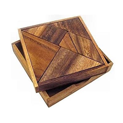 Tangram Wooden Puzzle Geometry Game, with 48 Silhouette Tangrams Challenge Booklet: Toys & Games