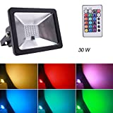 RGB LED Flood Lights, Outdoor Floodlight, IP65 Waterproof LED Security Light, 16 Colors and 4 Modes with Remote Control Wall Washer Light (30W)