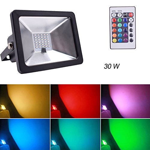 RGB LED Flood Lights, Outdoor Floodlight, IP65 Waterproof LED Security Light, 16 Colors and 4 Modes with Remote Control Wall Washer Light (30W) by Xinyixing Trade