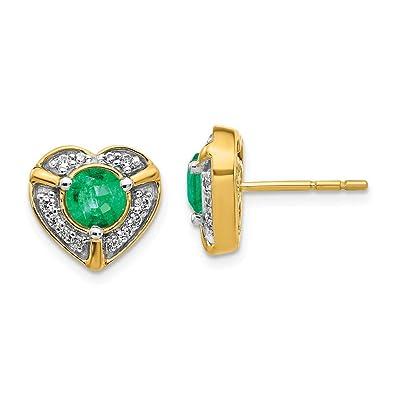 e292f6689 Amazon.com: 14k Yellow Gold Diamond Green Emerald Heart Post Stud Earrings  Birthstone May Love Gemstone Fancy Em Fine Jewelry Gifts For Women For Her:  ...