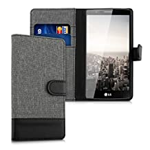 kwmobile Wallet case canvas cover for LG G4 - Flip case with card slot and stand in grey black