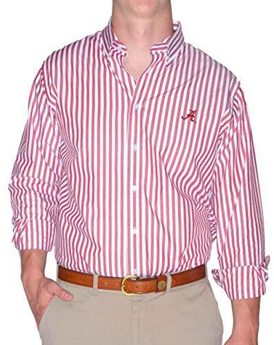 Pennington and Bailes NCAA Mens Team Broad Stripe Button Down Shirt (Alabama, M) - Stripe Crimson
