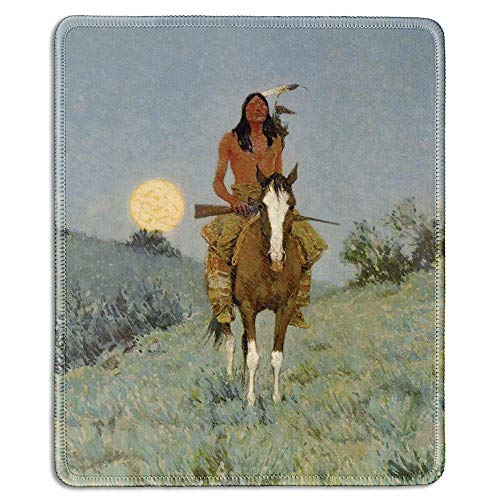 HAPPY-M - Art Mousepad - Natural Rubber Mouse Pad with Famous Fine Art Painting of The Outlier, 1909 by Frederic Remington - Stitched Edges - 8.66x7.08 Inch (220mmX180mm)