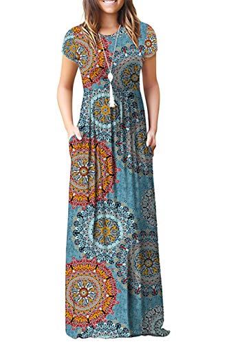 DEARCASE Women's Short Sleeve Casual Loose Long Maxi Dresses with Pockets Mix Blue Flower Small