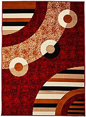 Sweet Home Stores Modern Circles Design Area Rug Red