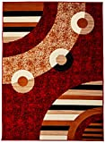 Sweet Home Stores Modern Circles Design Area Rug, Red