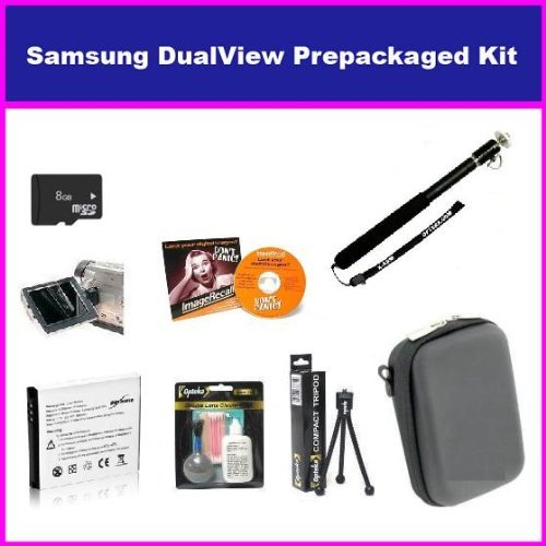 Essential Accessory Package For The Samsung DualView TL225 TL220 TL90 Digital Camera Includes 8GB Micro SD Memory, Card Reader, SLB-07A Replacement Spare Battery, Hard Shell Slim Case, + Flexible Mini Tripod, Self Portrait Handheld Monopod + More