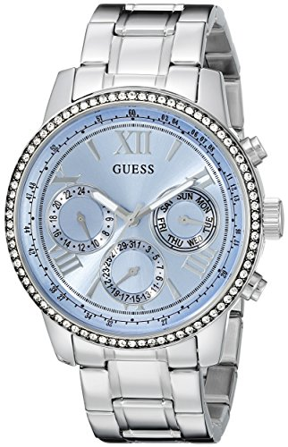 GUESS Women's U0559L4 Sporty Silver-Tone Stainless Steel Watch with Multi-function Dial and Pilot Buckle