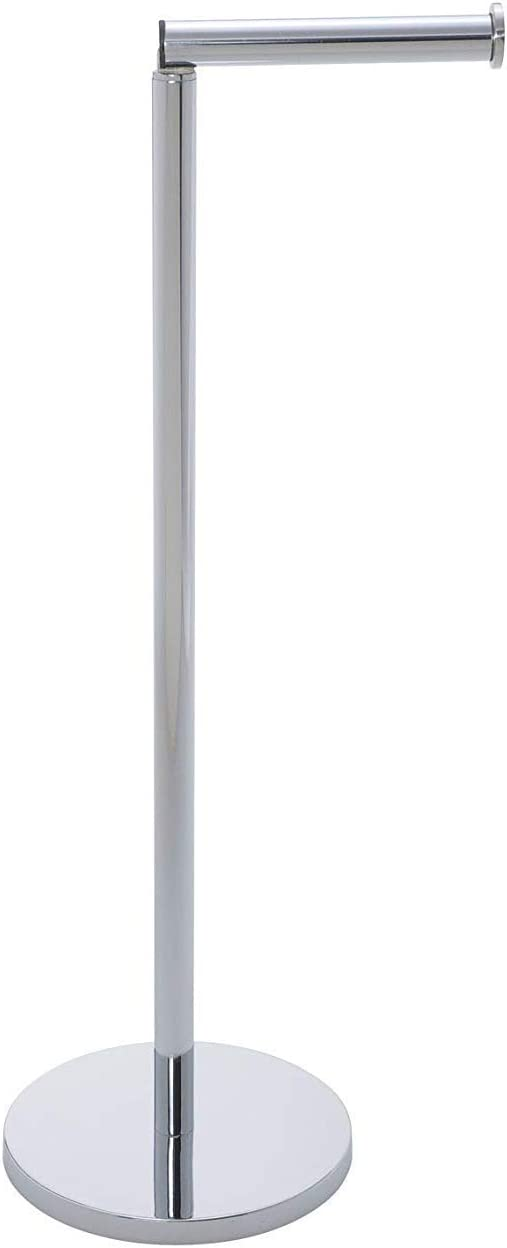 WENKO 19637100 Free-standing toilet roll holder 2 in 1, Stainless steel, 17 X 21 X 55 cm, Shiny