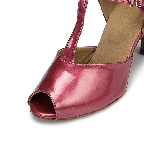 Dance Shoesland Women's Chunky Ballroom Buckle Shoes Tango Red W126 Heel Salsa Latin Peep Dance Toe rwrPqpA
