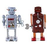 Fityle 2 Pedazos Vintage Robot Hecho a Mano Relojes Viento Estaño Decorativo de Escritorio Regalos de Navidad
