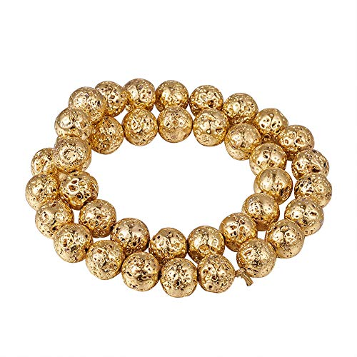 (Beadthoven 5Strands Electroplated Natural Lava Bead 10mm Rock Round Golden Plated Stone Bead Charms for Jewelry Making Women & Men's Bracelets Handmade Accessories Finding Supplies)