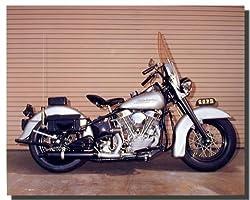 Silver Panhead Harley Davidson Police Motorcycle Wall Decor Art Print Poster (16x20)