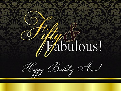 Custom Golden Fabulous Fifty Years Banner Decoration Birthday Party Poster with Crane - size 24x36, 48x24, 48x36; Golden 50 Elegant Birthday Banner Wall Décor, Handmade Party Supplies Poster Print ()