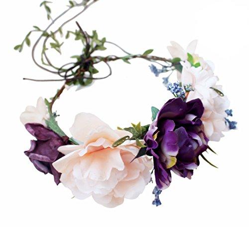 Handmade Flower Headband Floral Crown Boho Wreath Halo Garland Headpiece for Festival Wedding Photography (B4-(White & Purple))