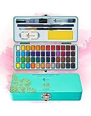Artistro Aquarelverfset, 48 levendige kleuren in draagbare doos, inclusief metalen en fluorescerende kleuren. Perfecte reisaquarel set voor kunstenaars, amateur-hobbyisten en schilderliefhebbers