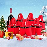 Alamana Portable Red Wine Bottle Cover Bag Party Travel Handing Santa Claus Pants Candy Case Xmas Decor Large