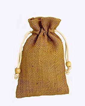 Pack of 25 x Small Plain Drawstring Jute Hessian Bag in Natural ...