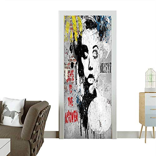 Door Sticker Wall Decals Modern Wall with a Girl and Quotes Casual Youth Urban Fashion Print Easy to Peel and StickW35.4 x H78.7 INCH