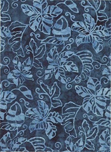 Timeless Treasures Blue Tropical Batik ~ HALF YARD!! ~ Java Block Printed (Tjap Stamped) Indigo Dreams Leaves & Vines Bali Tie Dye (Ikat) Batik ~ Quilt 100% Cotton 44