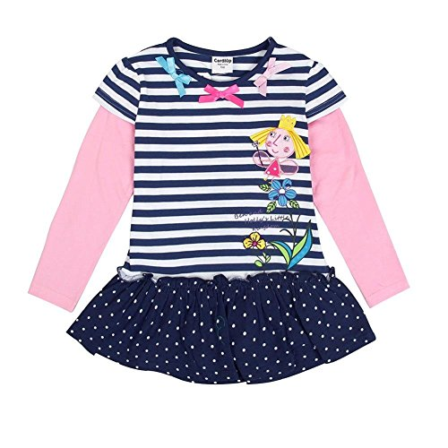 Coralup Little Girls Top Stripes T-Shirt(18M-7Y,Dark Blue&Red)