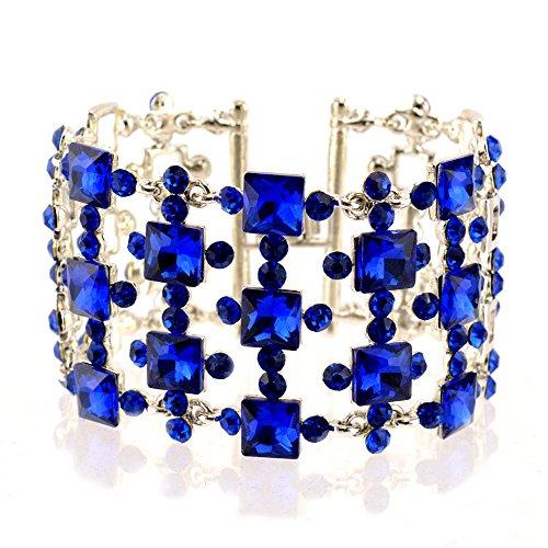 Blue Sapphire Square Bracelet (274-SAPPHIRE ROYAL BLUE Fashion Party & Wedding Jewelry Square Cube Rhinestone Bangle Bracelet)
