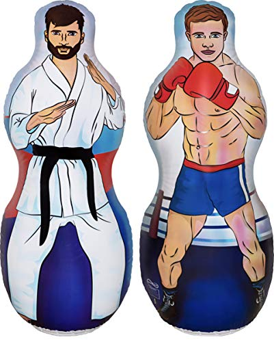 ImpiriLux Inflatable Two Sided Karate and Boxing Punching Bag | Includes One Inflatable 5 Foot Tall Bop Bag with Illustration of a Karate Master on One Side and Boxer on Reverse Side