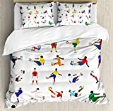 Ambesonne Sports Decor Duvet Cover Set King Size, Collection of Soccer Players League Pastime Practicing Different Poses, Decorative 3 Piece Bedding Set with 2 Pillow Shams