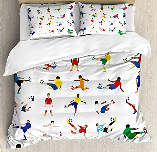Ambesonne Sports Decor Duvet Cover Set King Size, Collection of Soccer Players League Pastime Practicing Different Poses, Decorative 3 Piece Bedding Set with 2 Pillow Shams by Ambesonne