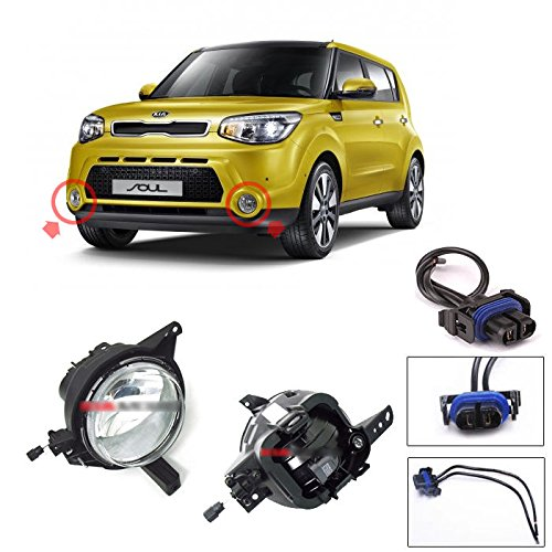 [Sell by Automotiveapple] Kia Motors OEM Genuine 92201B2010, 92202B2010 Fog Light Lamp Assembly 2pc + Conector 2pc 1Set For 2014 2015 Kia All New Soul by Soul : All New SOUL (14 ~ 17)
