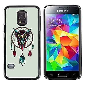 TopCaseStore / la caja del caucho duro de la cubierta de protección de la piel - Beautiful Red & Blue Mystical Owl Dream catcher - Samsung Galaxy S5 Mini, SM-G800, NOT S5 REGULAR!